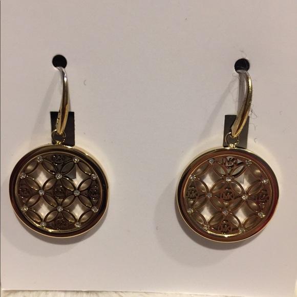 2cf3078e54af MK Monogram Gold Tone Drop Earrings Crystals. NWT. Michael Kors